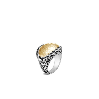 JOHN HARDY Classic Chain Hammered Ring with 18k Yellow Gold Accent SZ 7