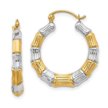 QG 14k with white RH bamboo hoop earrings