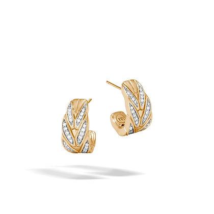 JOHN HARDY Modern Chain 18K Gold Diamond Pave 0.35Ct Small J Hoop Earrings