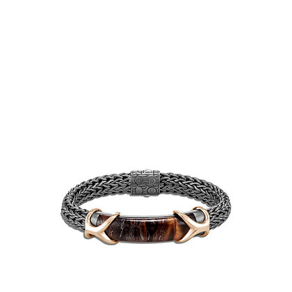 JOHN HARDY Asli Classic Chain Link Station Bracelet with Red Tiger Iron & Bronze