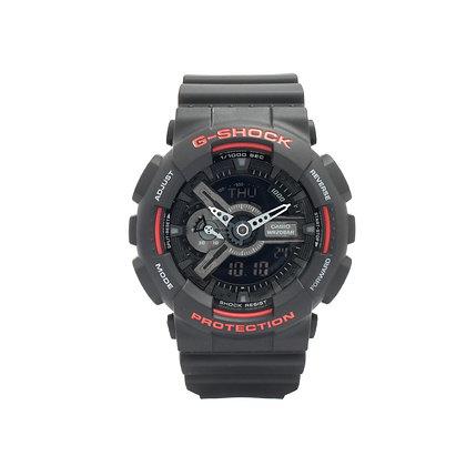 CASIO G-SHOCK Analog-Digital Black Dial Men's Watch in black and red