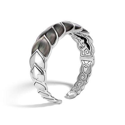 JOHN HARDY Legends Naga Silver Medium Flex Cuff W/ Grey Mop Sz M