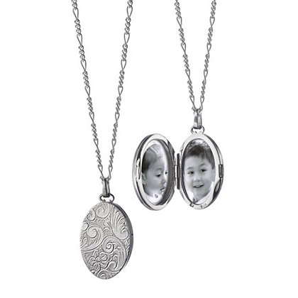 MONICA RICH KOSANN FLORAL OVAL LOCKET IN SILVER