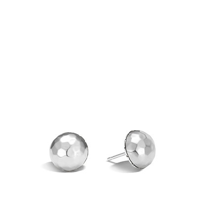 JOHN HARDY Classic Chain Hammered Silver Large Stud Earrings