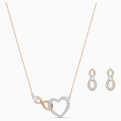 SWAROVSKI Swarovski infinity Heart Set, White, Mixed metal finish