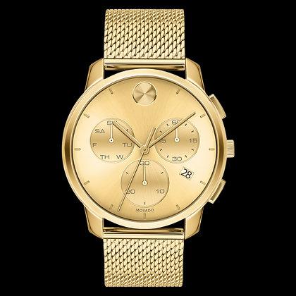 MOVADO BOLD THIN Yellow Gold Chronograph Dial Mesh Bracelet