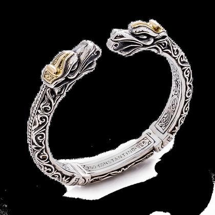 Konstantino Gaia Dragon Head Hinged Cuff Bracelet