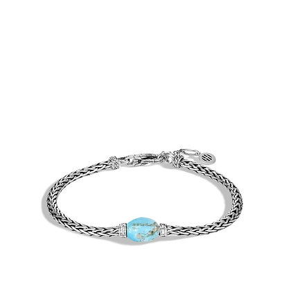 JOHN HARDY Classic Chain Bracelet with Turquoise and Diamond    M-L 3.5mm
