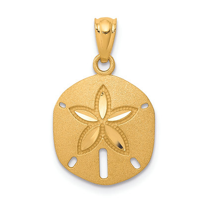 QG 14K Yellow Gold SATIN DIAMOND-CUT SAND DOLLAR PENDANT
