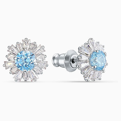 SWAROVSKI  Sunshine Pierced Earrings, Blue, Rhodium plated