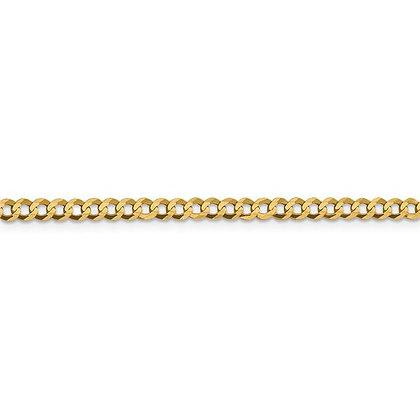 QG 14k 3.7mm Solid Polished Light Flat Cuban Chain