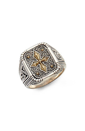 Konstantino Signet   Ring   Cross Accent S11