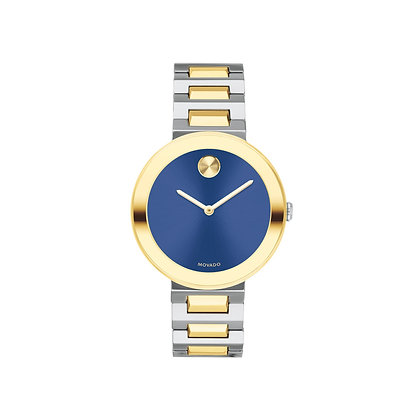 MOVADO BOLD CARIBBEAN EXCLUSIVE MD Blue Dial 2 Tone Yellow Gold