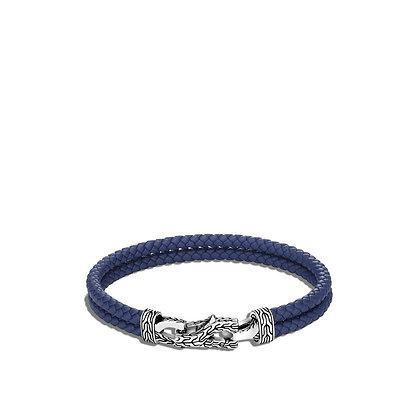 JOHN HARDY Asli Classic Chain Link Station Bracelet Blue Leather M 8mm