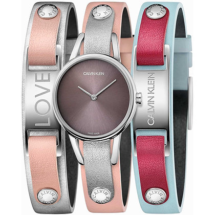 CALVIN KLEIN Watch My Calvins Blue, Grey And Pink Leather Strap