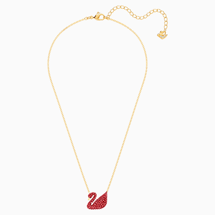 SWAROVSKI Iconic Swan Pendant, Red, Gold-tone plated