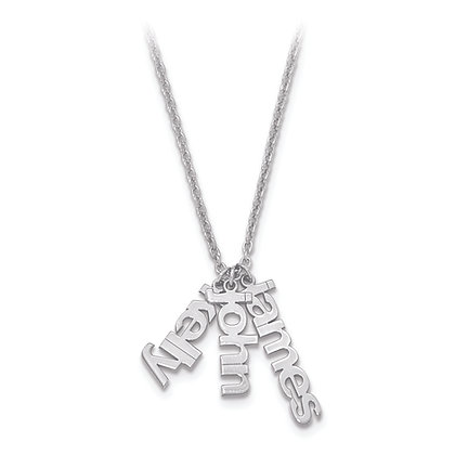 QG Sterling Silver Polished NAME CHARMS Necklace