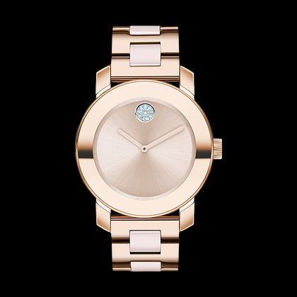 MOVADO BOLD CERAMIC Rose Gold Plated Beige Dial