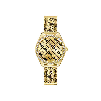 GUESS CLAUDiA WOMEN'S WATCH Gold Tone Dial Gold Plated Stainless Steel Mesh Band