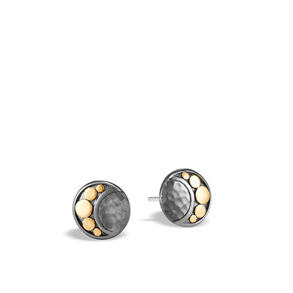 JOHN HARDY Dot Hammered 18K Gold & Sil Stud Earrings Blk Rhodium