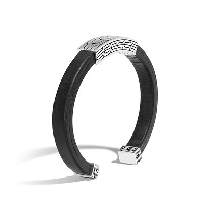 JOHN HARDY Classic Chain Silver Cuff On Blk Leather 8mm Size M