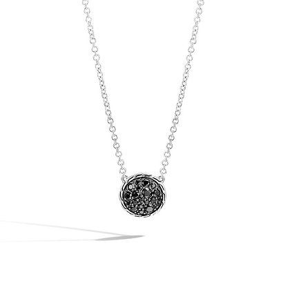 JOHN HARDY Classic Chain Round Necklace with Black Sapphire and Black Spinel