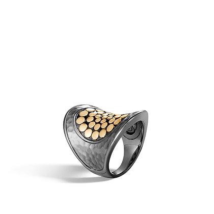 JOHN HARDY Dot Hammered 18K Gold & Sil Saddle Ring Blk Rhodium Sz 7