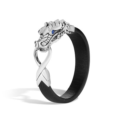 JOHN HARDY Legends Naga Silver Bracelet On 15mm Black Leather