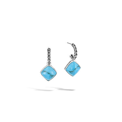 JOHN HARDY Classic Chain Sugarloaf Drop Earring with Turquoise