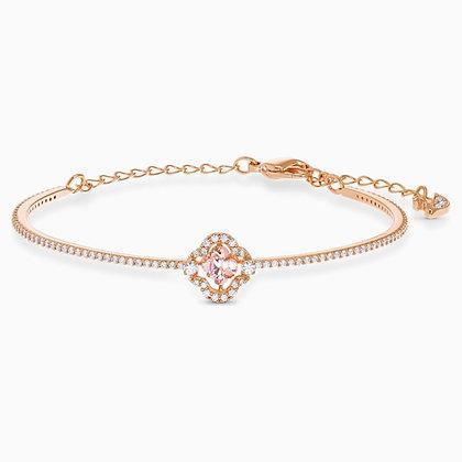 SWAROVSKI  Sparkling Dance Clover Bangle, Pink, Rose-gold tone plated