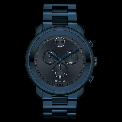MOVADO BOLD METALS Dark Navy Metallic Dial with Matching Subdials