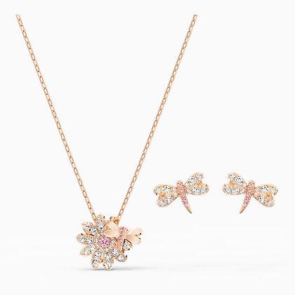 SWAROVSKI  New-Eternal Flower Dragonfly Set, Pink, Rose-gold tone plated