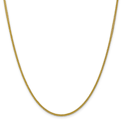 QG 14K Yellow Gold 2mm SEMI-SOLID 3-WIRE WHEAT CHAIN