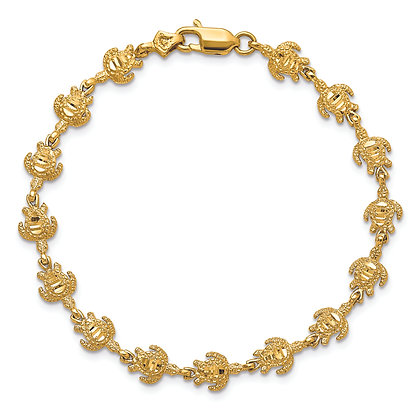 "QG 14K Yellow Gold POLISHED/ TEXTURED 7"" TURTLE BRACELET"