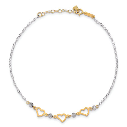 QG 14K Yellow and White Gold OVAL LINK BEADS & HEART ANKLET