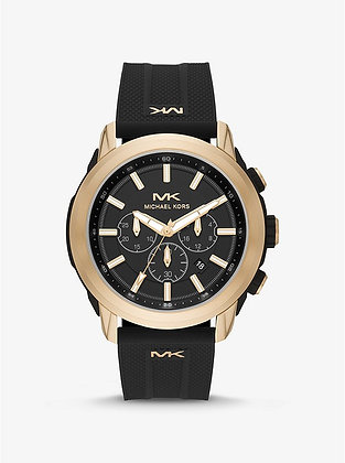MICHAEL KORS  Kyle Chronograph Black Silicone with Gold Bezel Watch