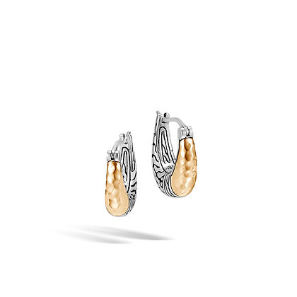 JOHN HARDY Classic Chain Hammered Hoop Earring with 18k Yellow gold accent