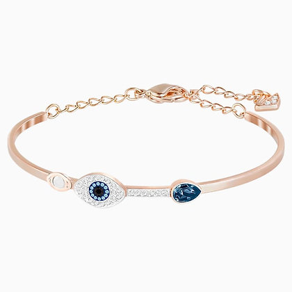 SWAROVSKI Symbolic Evil Eye Bangle, Blue, Mixed metal finish