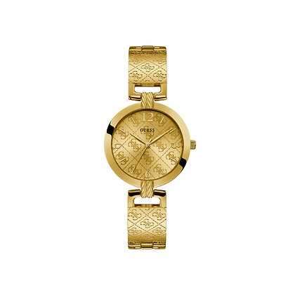 GUESS G LUXE WATCH Gold dial with yellow gold-tone hands and index hour markers.