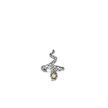 JOHN HARDY Legends Cobra 18K Yellow Gold & Sterling Silver Ring SZ 8
