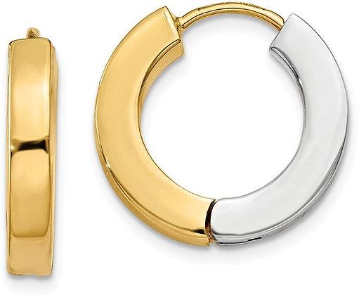 QG 14k Two-Tone Gold Polished Hollow Hinged Hoop Earrings