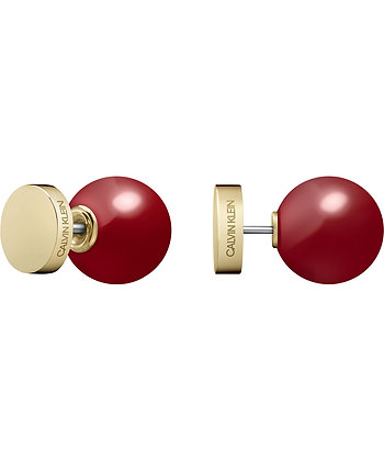 CALVIN KLEIN Bubbly Stainless Steel Gold/ Red coral Earrings