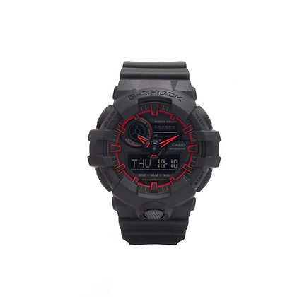 CASIO G-SHOCK Analog-Digital Black Dial Men's Watch in black and red