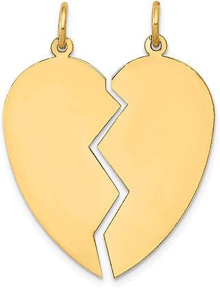 QG 14K 2 Piece Heart Charm