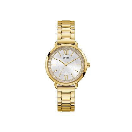 GUESS POSH WOMEN'S WATCH Silver Crystal-set Dial Gold Plated Stainless Steel