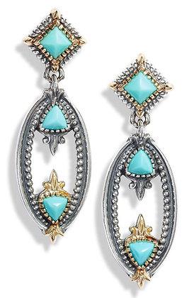 Konstantino Turquoise  Oval  Drop Earrings