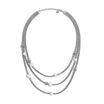 JOHN HARDY Classic Chain Multi Row Necklace with Freshwater Pearl SZ 16-18