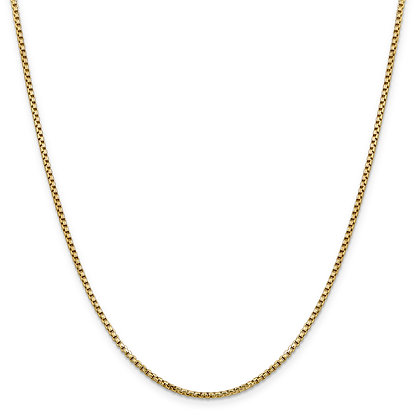 QG 14K Yellow Gold 1.75mm HOLLOW ROUND BOX CHAIN