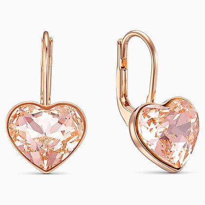 SWAROVSKI  Bella Heart Pierced Earrings, Pink, Rose-gold tone plated