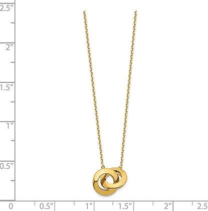 QG 14k Polished Fancy Interlocking Circle 16 Inch, 1 Inch Ext. Necklace